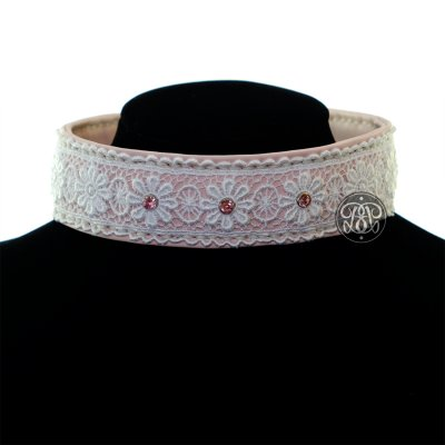 Embroidered Lace Leather Collar