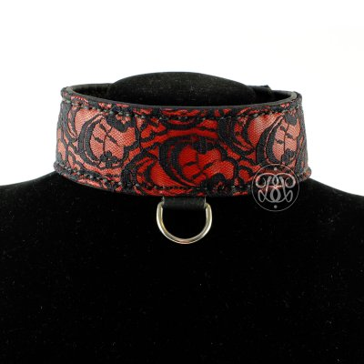 Leather and Lace Submissive Collar - Red