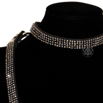 Black Crystal Kitten Collar With Lead